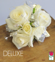 French Corsage - White Roses with Silver - Deluxe