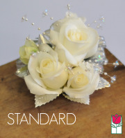 French Corsage - White Roses with Silver - Standard