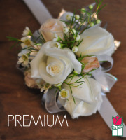 French Corsage - White & Peach Roses with Silver