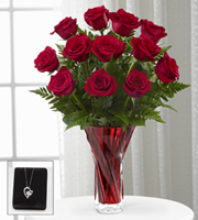The FTD® Anniversary Rose Bouquet with Heart Pendant