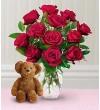 Dozen Roses with a Bear