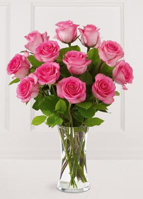 Pink Rose Bouquet with Vase