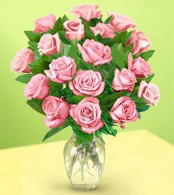 The FTD® 18 Pink Medium Stem Rose Bouquet with Vase