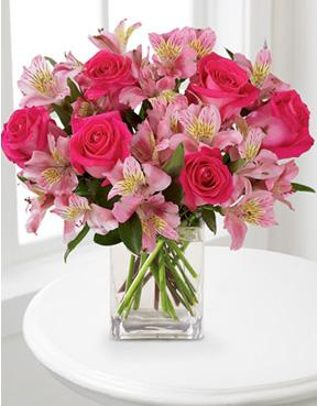 James white sons flowers gifts dreamland pink bouquet with dreamland pink bouquet with vase mightylinksfo