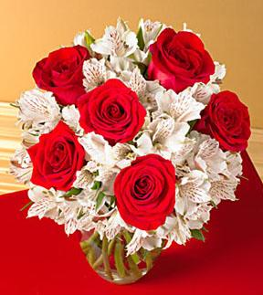 Red Rose and White Alstroemeria Bouquet - With Vase