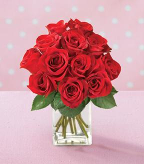 Bouquet de roses rouges avec vase GRATUIT
