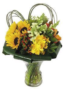 Bouquet dans un vase en verre