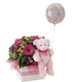 It\'s a Girl!    Flowers, Bear & Balloon