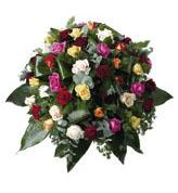Round Funeral Spray with Mixed Roses