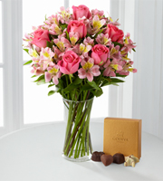 Dreamland Pink Bouquet with Vase and Godiva® Chocolates