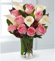 Rose and Lily Celebration Bouquet with FREE Vase - 13 Stems