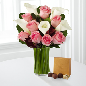 Fabled Beauty Bouquet with Godiva® Chocolate and Vase