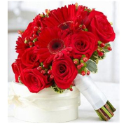 RED ROSES AND GERBERA BRIDAL BOUQUET