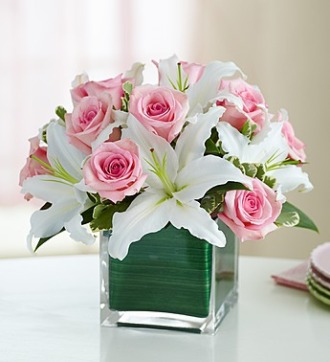 PINK AND WHITE CUBE ARRANGEMENT