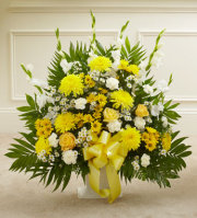YELLOW AND WHITE FLOOR BASKET