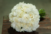 ALL WHITE ROSE AND CARNATION BRIDAL BOUQUET