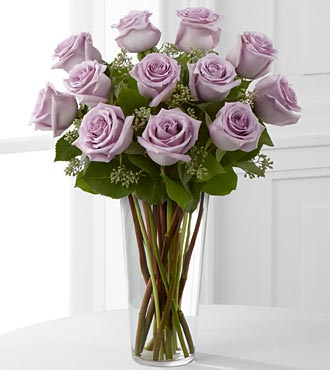 12 LAVENDER ROSES ARRANGED