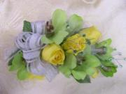 Heritage House Custom Wrist Corsage-Yellow Roses and Green Dendrobium Orchids