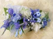 Heritage House Custom Wrist Corsage-White Roses & Blue Delphinium for Baby Boy