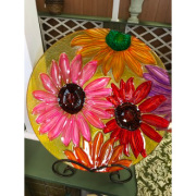 Painted Daisy Bird bath