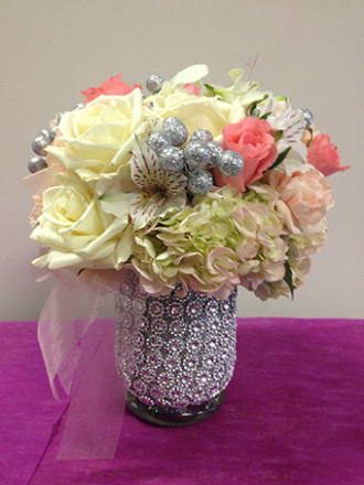 White Flowers In Silver Beaded Vase