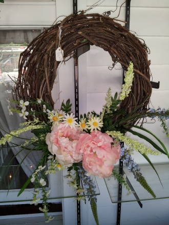 Wreath with pink silks