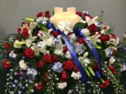 CASKET COVER- PATRIOTIC WITH LED CANDLES