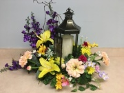 Lantern with Candle & Arrangement