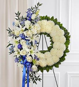 BLM Serene Blessings Wreath Blue And White