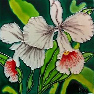 Continental Art White Orchid Ceramic Tile
