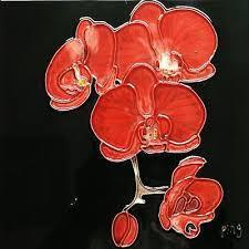 Continental Art Red Orchids Ceramic Tile