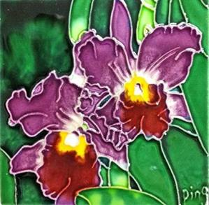 Continental Art Purple Orchid Ceramic Tile
