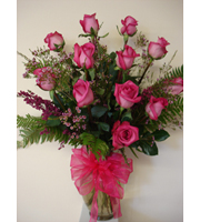 Dozen Long Stem Pink Roses Vased
