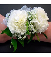Double White Carnations With Fillers & Bow
