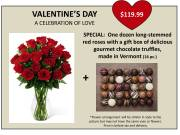 VALENTINE'S DAY SPECIAL: 1 DOZ ROSES AND TRUFFLES