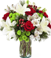 Modern and contemporary vase of red and white holiday flowers for holiday gift delivery, Sunnyslope Floral