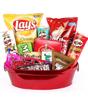 Junk food snack goodie packages for Valentine's Day, birthday, anniversary, new baby and get well for a man delivered same day by Sunnyslope Floral
