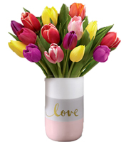 colors of love tulip bouquet in a love theme vase for same day delivery by Grand Rapids Sunnyslope Florist