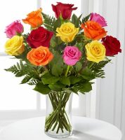 SAME DAY DELIVERY of a Dozen ROSES in a vase in Rainbow colors, Sunnyslope Floral, The Grand Rapids Floris