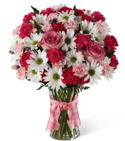 Send a fresh flower bouquet in a contemporary vase with pink miniature carnations & white daisies by local Grand Rapids Florist, Sunnyslope Floral