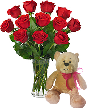 Send a dozen red roses delivered in a vase in Grandville, Holland, Rockford & Grand Rapids area, Sunnyslope Floral