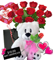 Valentine Dozen Roses with SWEET BIG DEAL PKG!   $132 Value For $114.98!