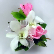 White Orchid w/Pink Rose Corsage