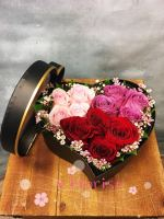 Assorted Roses in Heart-Shaped Box