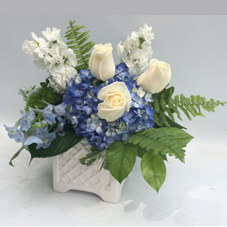 Blue and White assorted flowers