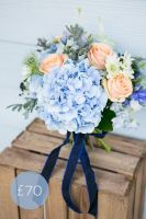 Blue and Peach Garden Bouquet