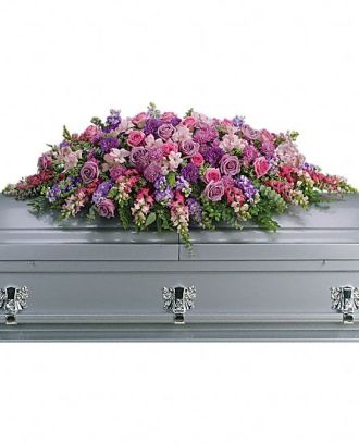Teleflora\'s Lavender Tribute Casket Spray