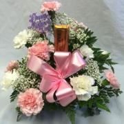 MOTHERS DAY CARNATION ARRANGEMENT WITH CANDY BAR