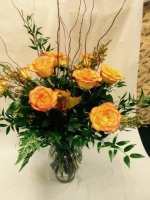 Yellow and orange circus roses