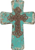 Vintage Wood Cross Blue Small